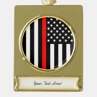 Personalisierte dünne rote Linie amerikanische Banner-Ornament Gold