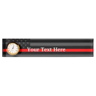 Personalisierte dünne rote Linie amerikanische Schreibtischplakette