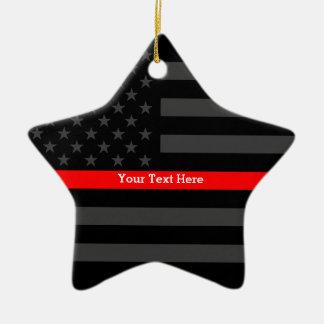 Personalisierte dünne rote Linie graue US-Flagge Keramik Ornament