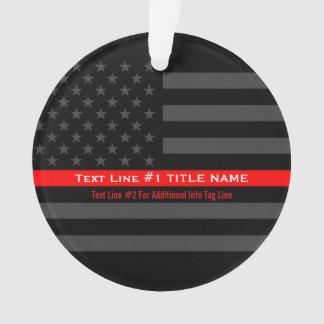 Personalisierte dünne rote Linie graue US-Flagge Ornament