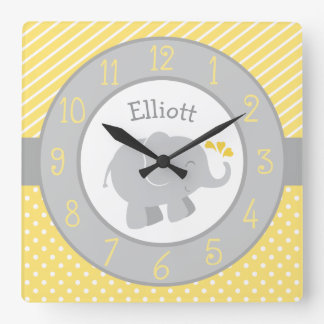 Personalisierte Elefant-Uhr | gelb und Grau Quadratische Wanduhr