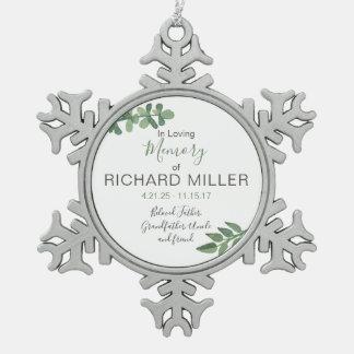 Personalisierte Erinnerungsschneeflocke-Verzierung Schneeflocken Zinn-Ornament