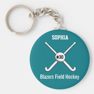 Personalisierte Feld-Hockey-Team-Namen-Jersey-Zahl Standard Runder Schlüsselanhänger