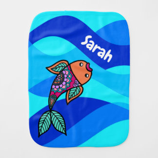 Personalisierte Fischeblauer gewellter gemusterter Baby Spucktuch