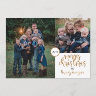 Personalisierte Foto-GoldGlitzer-Weihnachtskarte Weihnachtskarte