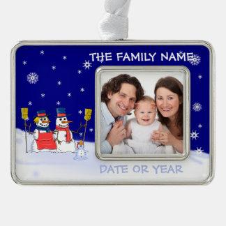 Personalisierte Foto-Verzierung des Babys Rahmen-Ornament Silber