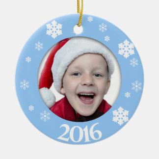 Personalisierte Foto-Weihnachtsbaum-Verzierung Rundes Keramik Ornament
