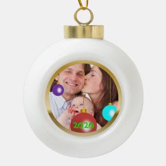 Personalisierte Foto-Weihnachtsverzierung Keramik Kugel-Ornament