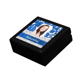 Personalisierte Fotoschablone der blauen Spitzes Erinnerungskiste