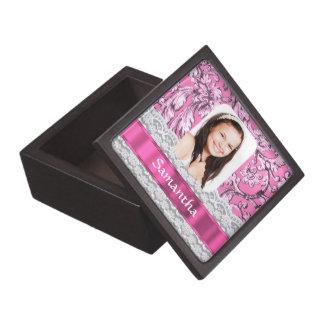Personalisierte Fotoschablone der rosa Spitzes Schachtel