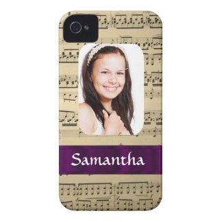 Personalisierte Fotoschablone des Musikblattes iPhone 4 Hüllen