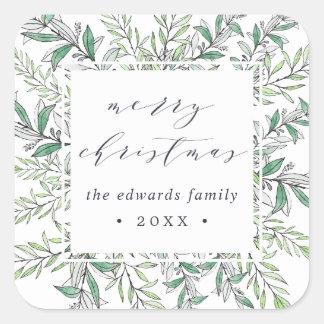 Personalisierte frohe Weihnachten des Quadratischer Aufkleber