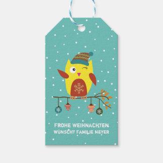 Personalisierte - Frohe Weihnachten - süsse Eule Geschenkanhänger