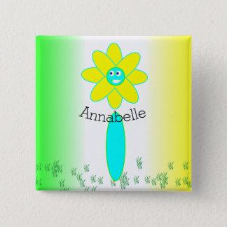 Personalisierte Gänseblümchen-Blume Quadratischer Button 5,1 Cm
