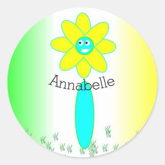 Personalisierte Gänseblümchen-Blume Runder Aufkleber