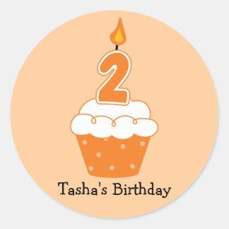 Personalisierte Geburtstags-Kuchen-Aufkleber Runder Aufkleber