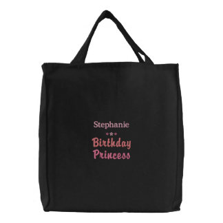 Personalisierte Geburtstags-Prinzessin Embroidered Bestickte Tragetasche
