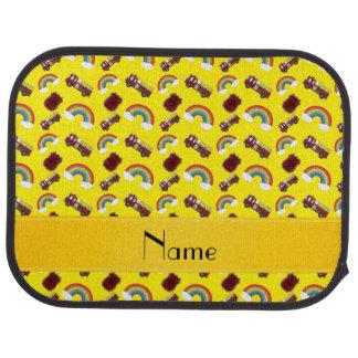 Personalisierte gelbe Feuer-LKW-Namensregenbogen Autofußmatte