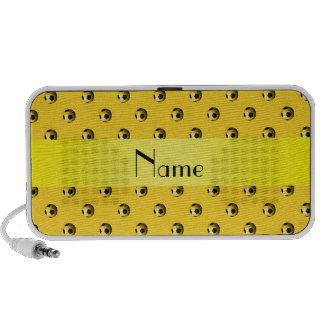Personalisierte gelbe Fußbalnamensbälle iPod Lautsprecher