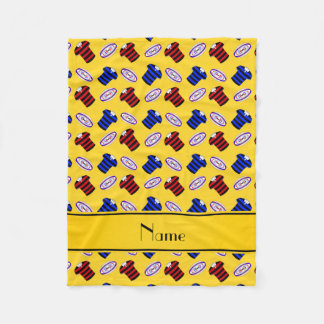 Personalisierte gelbe Jerseysrugbynamensbälle Fleecedecke