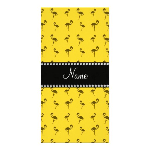 Personalisierte gelbe Namensflamingos Fotokarte