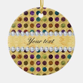 Personalisierte Glitter-Polka-Punkt-Diamanten Rundes Keramik Ornament