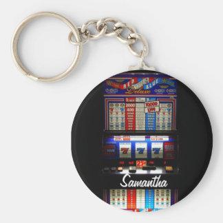 Personalisierte glückliche Schlitz-Maschine Schlüsselanhänger