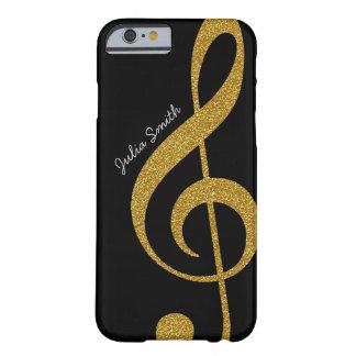 personalisierte goldene Musik des dreifachen Clef Barely There iPhone 6 Hülle