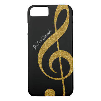 personalisierte goldene Musik des dreifachen Clef iPhone 7 Hülle
