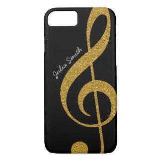 personalisierte goldene Musik des dreifachen Clef iPhone 8/7 Hülle