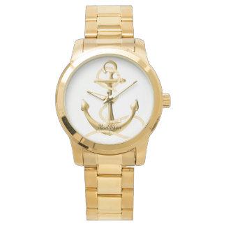Personalisierte Golduhr Goldanker Modeuhr Uhr