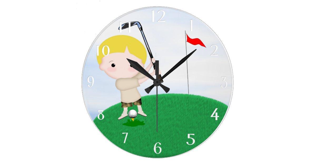 personalisierte golf wand uhr gro e wanduhr zazzle. Black Bedroom Furniture Sets. Home Design Ideas