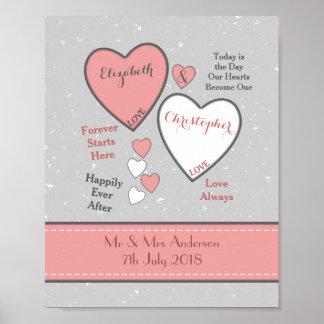 Personalisierte Grau-Willkommens-Hochzeit Poster