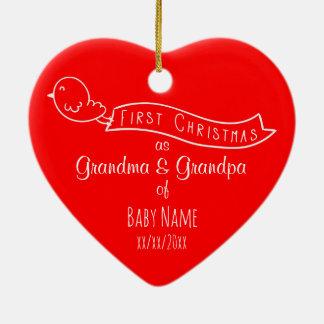 Personalisierte Großeltern-erste Keramik Herz-Ornament