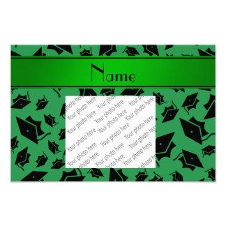 Personalisierte grüne Abschlussnamenskappe Photodrucke