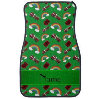 Personalisierte grüne Feuer-LKW-Namensregenbogen Autofußmatte