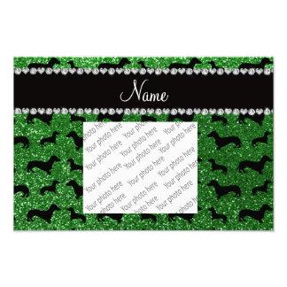 Personalisierte grüne Glitter-NamensDackeln Fotografische Drucke