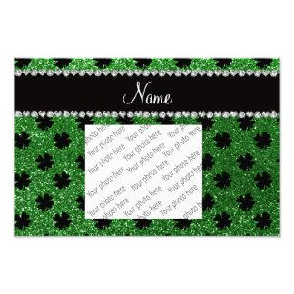 Personalisierte grüne Glitter-NamensKleeblätter Foto Druck