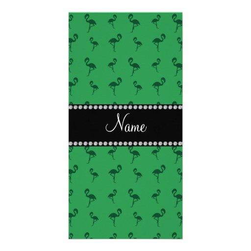 Personalisierte grüne Namensflamingos Photo Karten