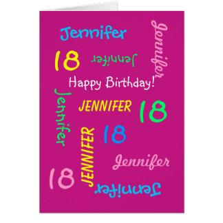 Personalisierte Gruß-Karte, Rosa, 18. Geburtstag Grußkarte