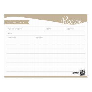 Personalisierte hellbraune u. weiße Rezept-Karte Postkarte
