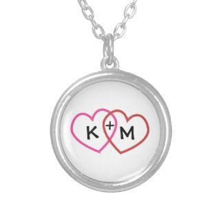 Personalisierte Herz-Halskette der Paar-Initialen-