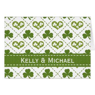 Personalisierte Herz-und Kleeblatt-Hochzeit danken Karte