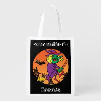 Personalisierte Hexe auf Besen-Trick oder Leckerei Wiederverwendbare Einkaufstasche