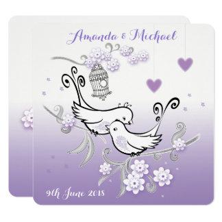 Personalisierte Hochzeit der PastellLiebevögel Quadratische 13,3 Cm Einladungskarte