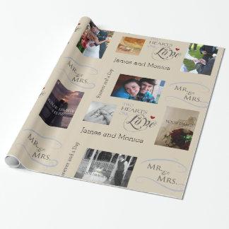Personalisierte Hochzeits-Foto-Collage mit Geschenkpapier