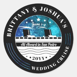 Personalisierte Hochzeits-Kreuzfahrt-Starry Himmel Runder Aufkleber