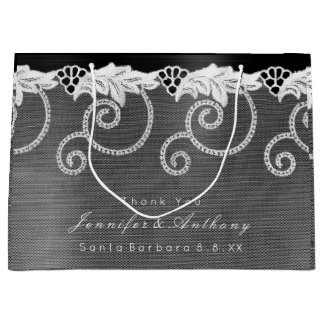 Personalisierte Hochzeits-Schwarz-weiße königliche Große Geschenktüte