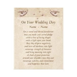 Personalisierte Hochzeits-Tagesgedicht-Leinwand Gespannter Galeriedruck