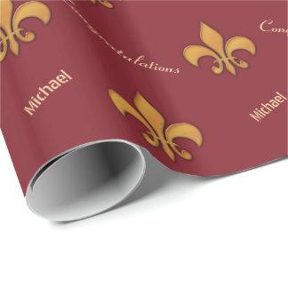 Personalisierte hölzerne Art-Lilie Geschenkpapier
